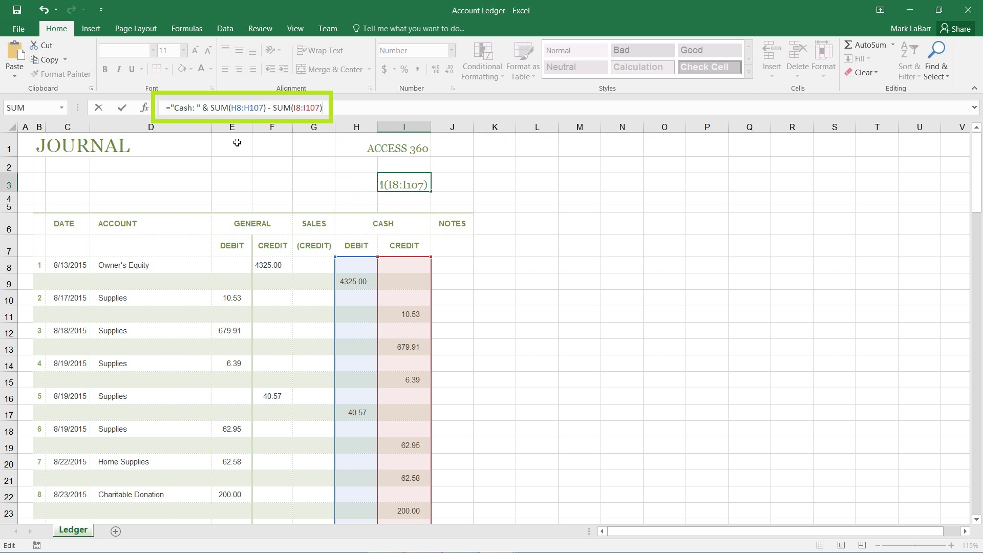 Add Text into an Excel 2016 Formula
