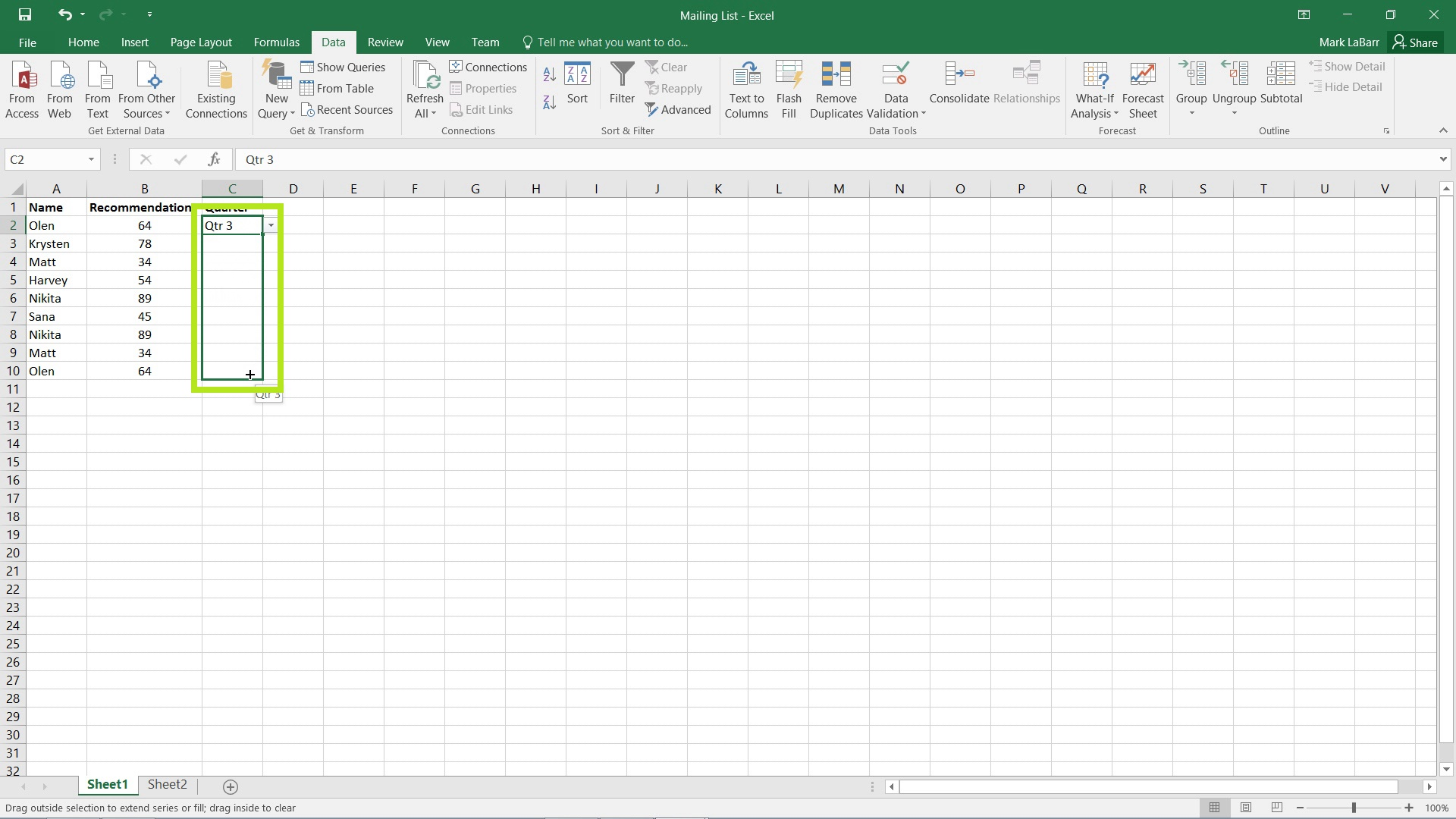 Create a Drop-Down List in Excel 2016