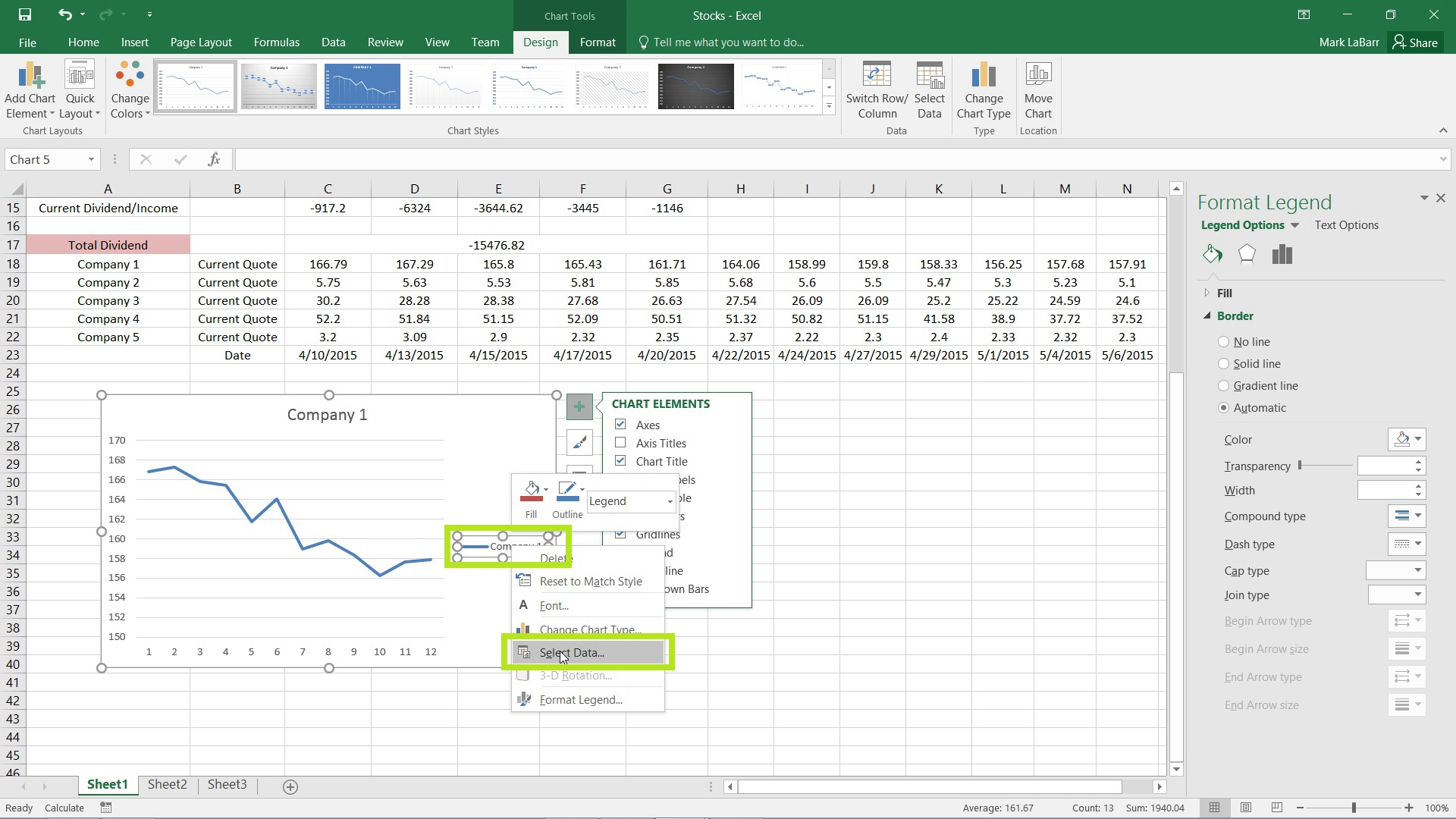 Create Charts in Excel 2016