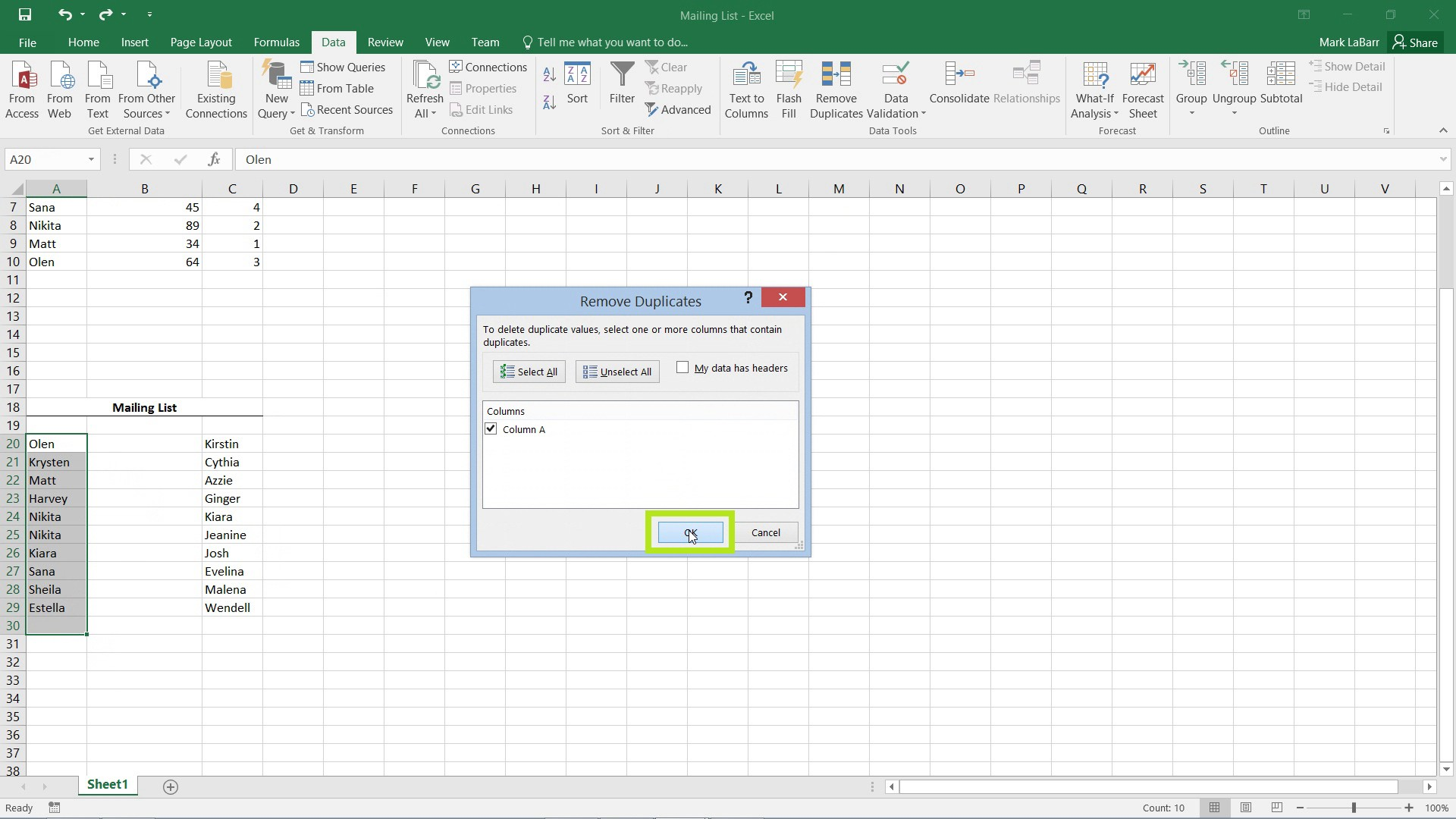 Remove Duplicate Entries in Excel 2016