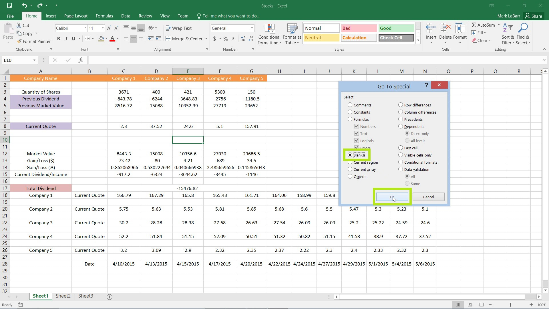 Remove Empty or Blank Cells in Excel 2016