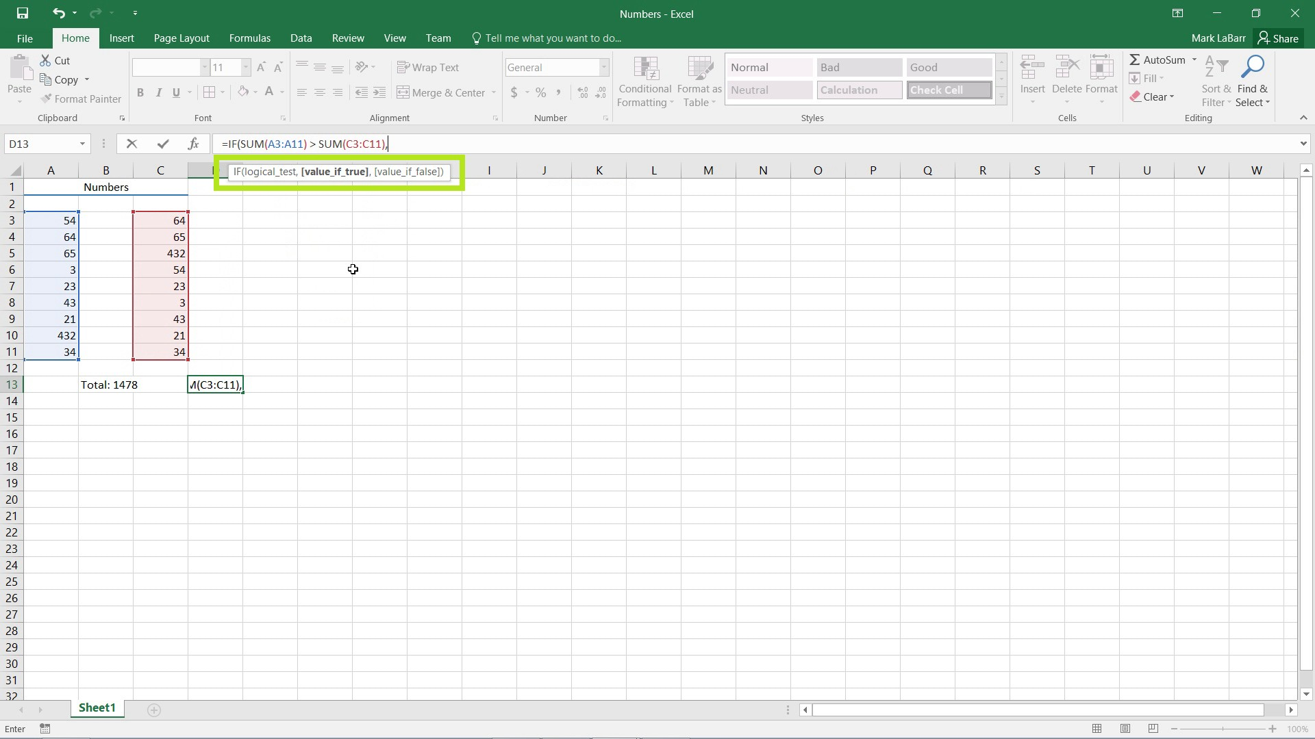 use the IF Function in Excel 2016