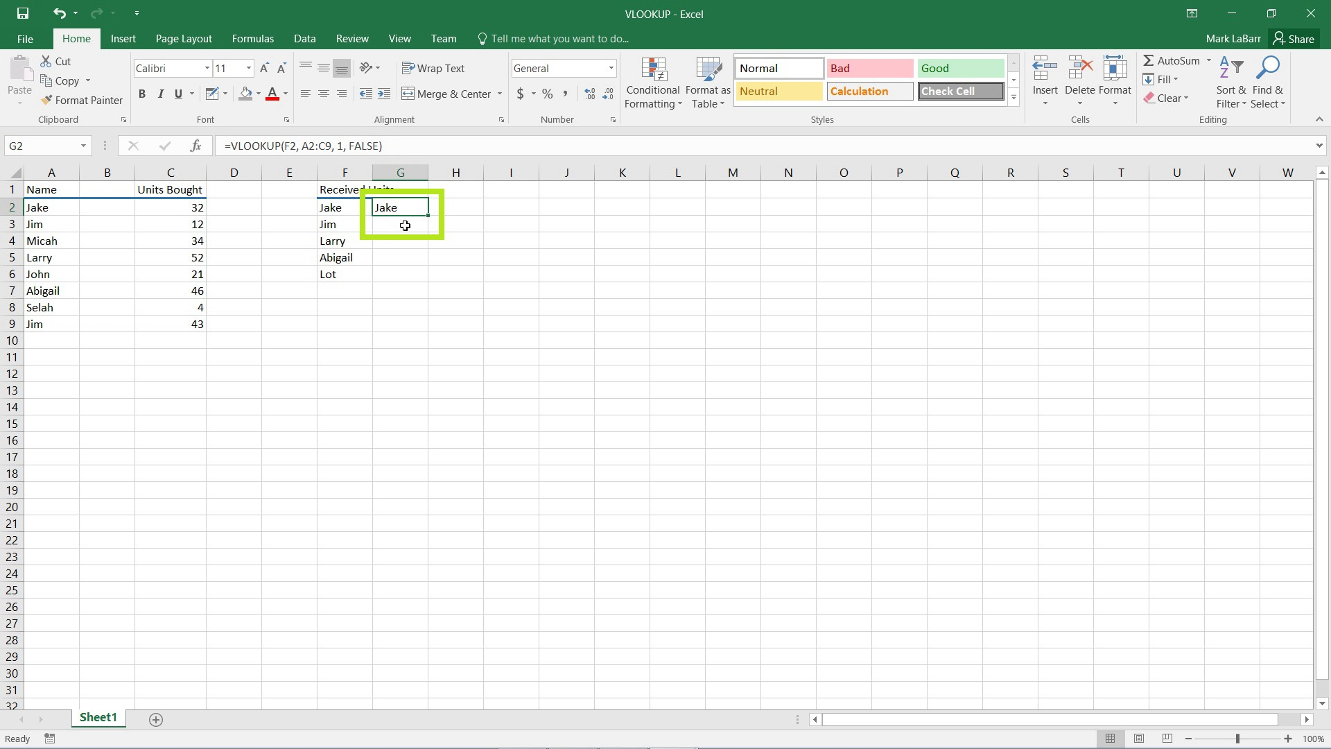use VLOOKUP in Excel 2016