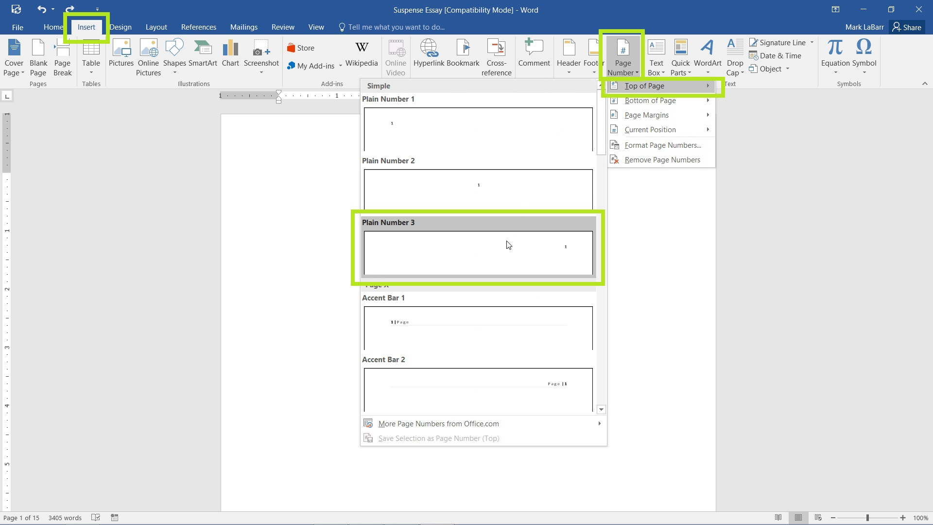 Add Page Numbers in Word 2016