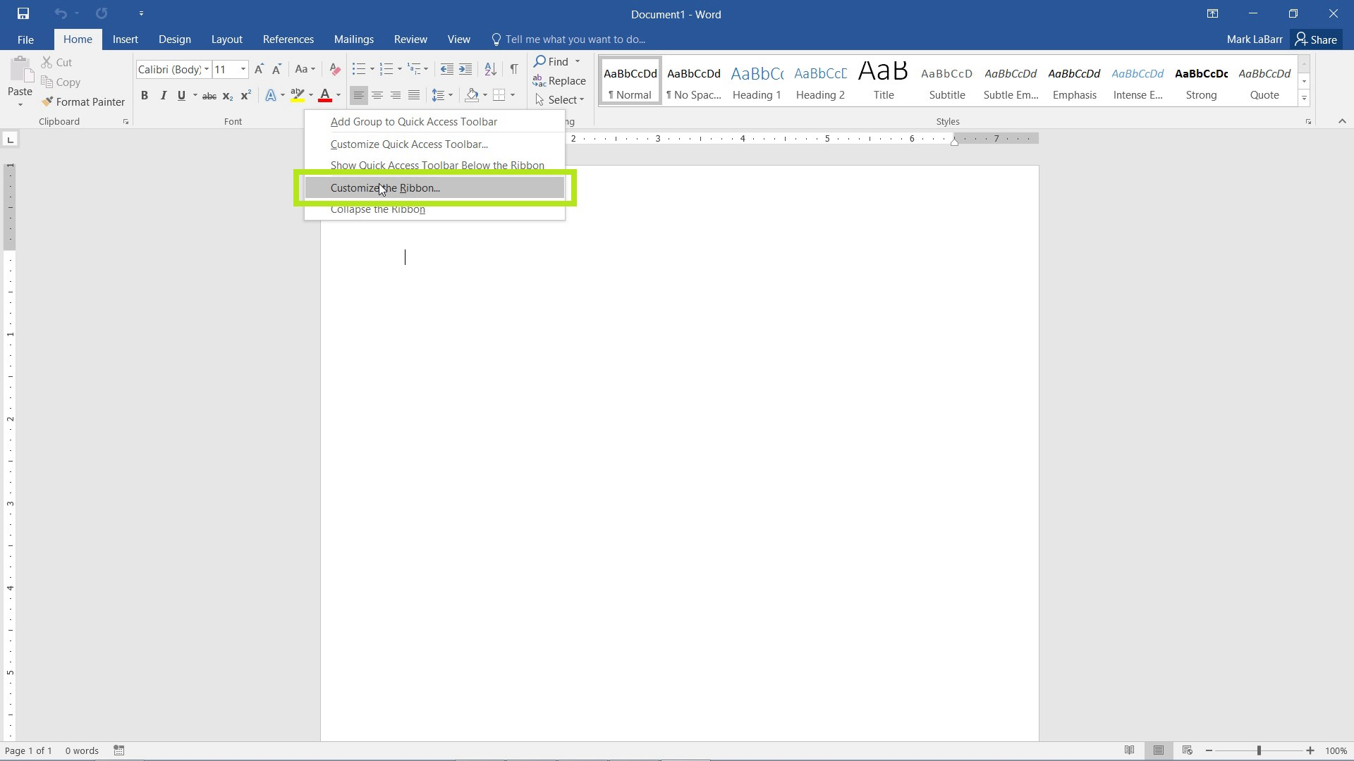 Customize the Ribbon in Word 2016