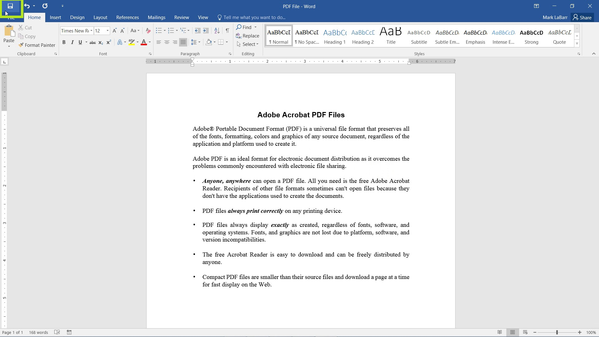 Edit PDF Files in Word 2016