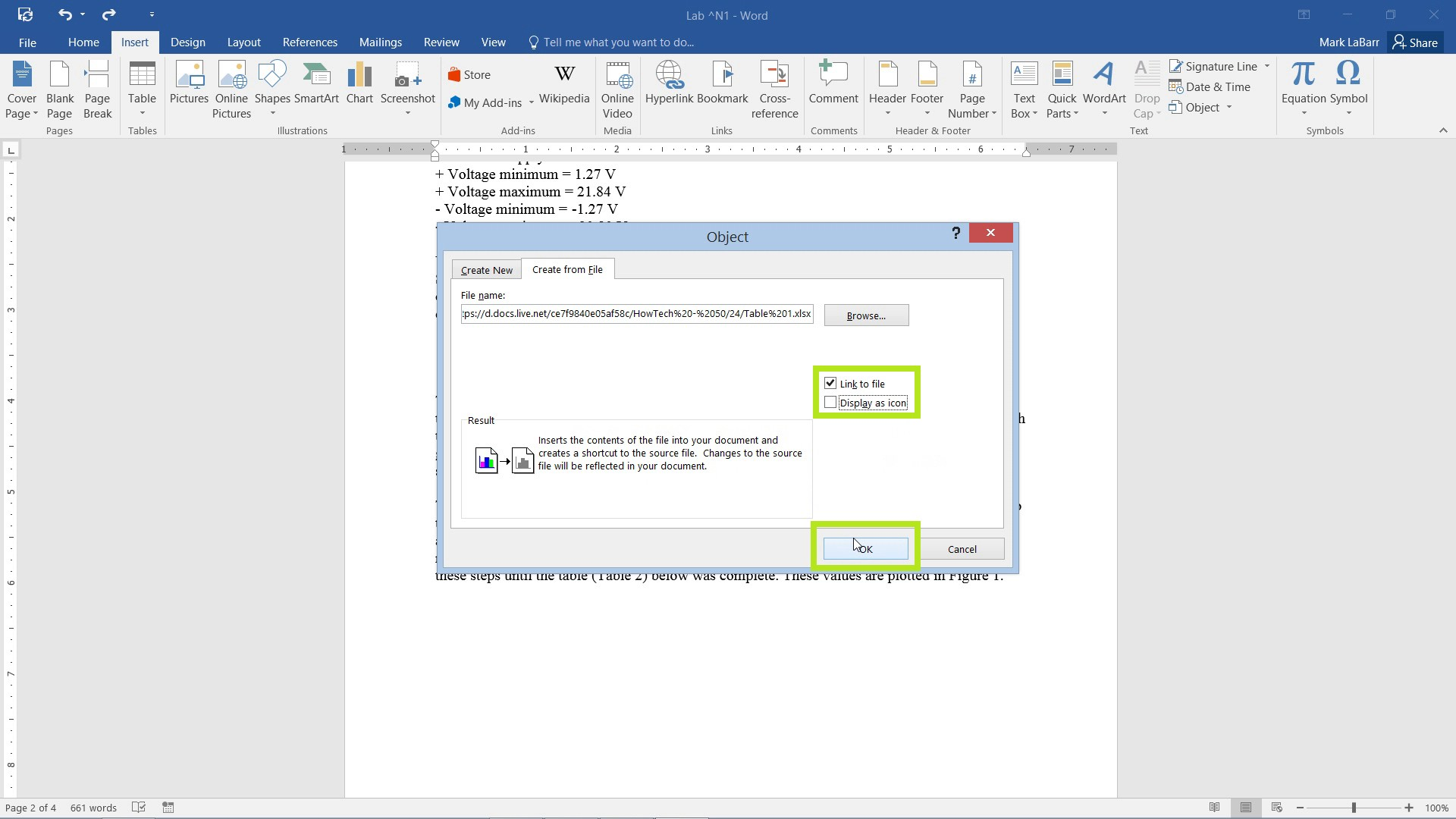 Insert Excel Charts into Word 2016