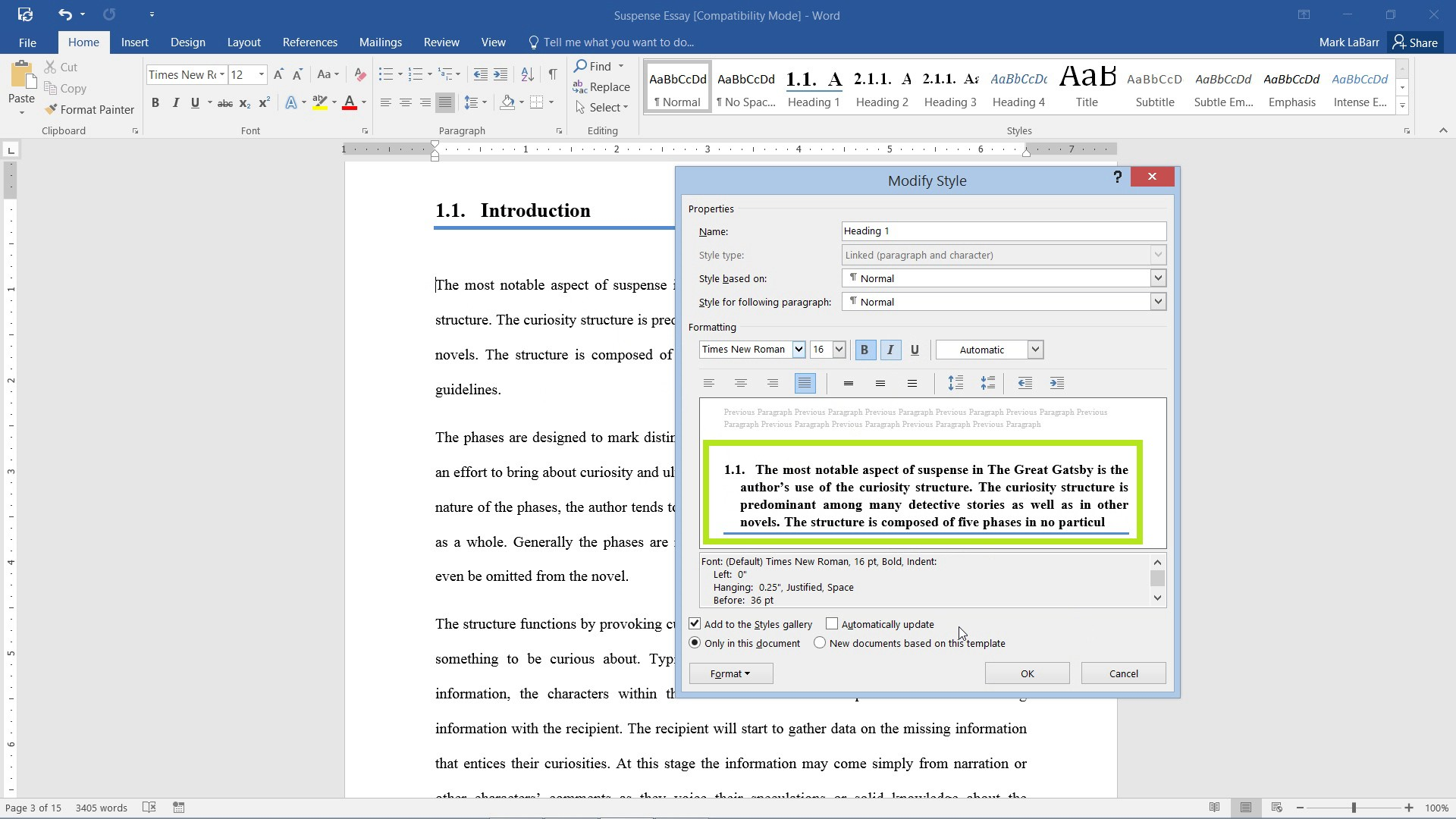 use Styles in Word 2016