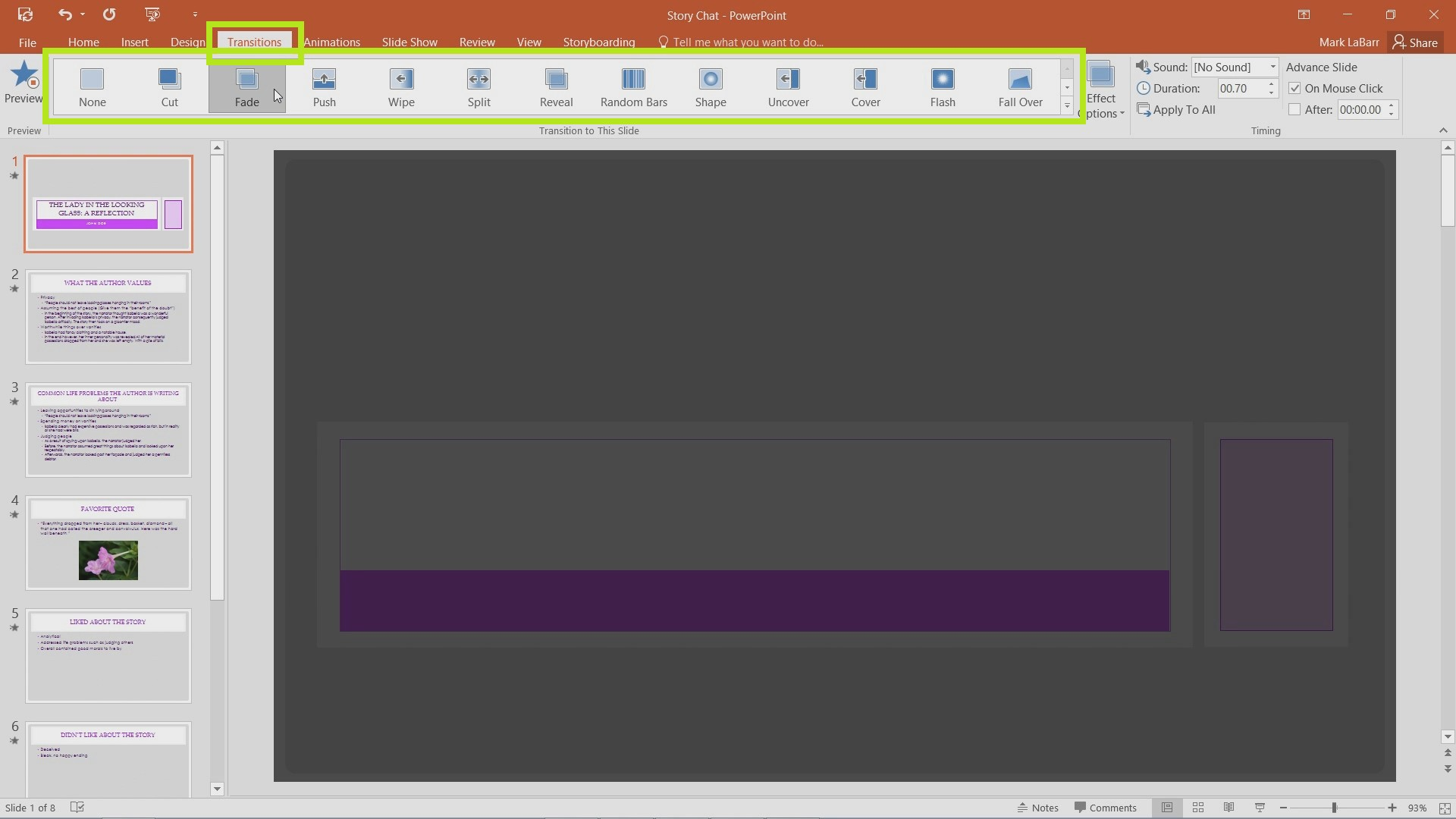 Basic Presentation Transitions in PowerPoint 2016