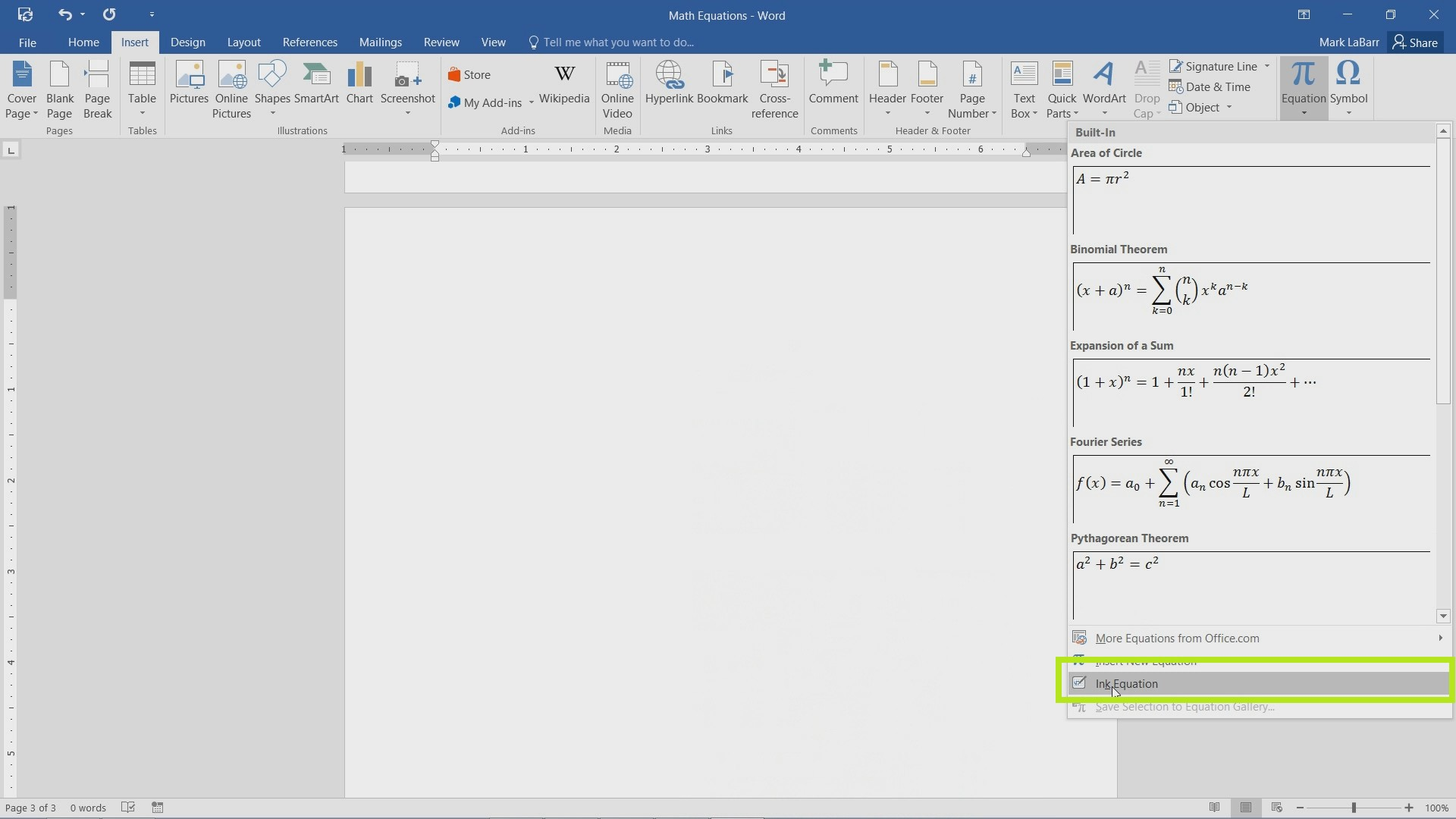 Create Equations in Word 2016