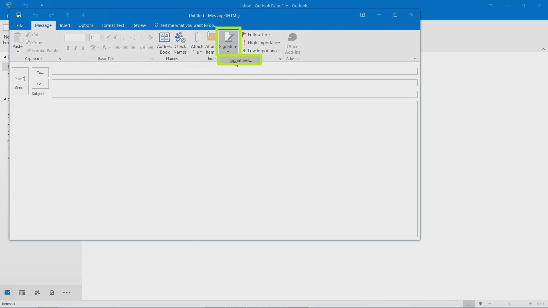 Add a Signature in Outlook 2016