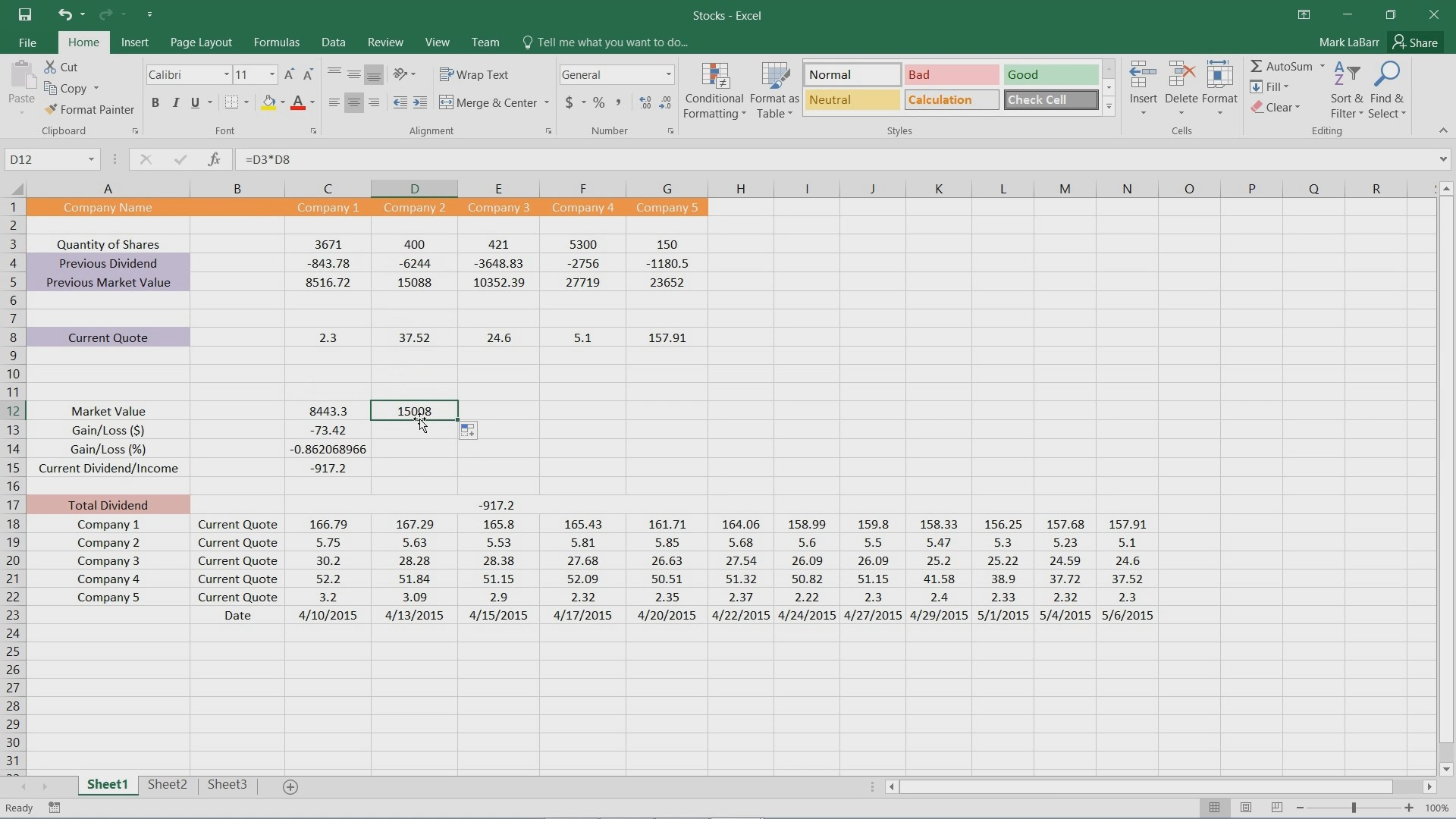 How to Copy a Formula to Multiple Cells in Excel 2016