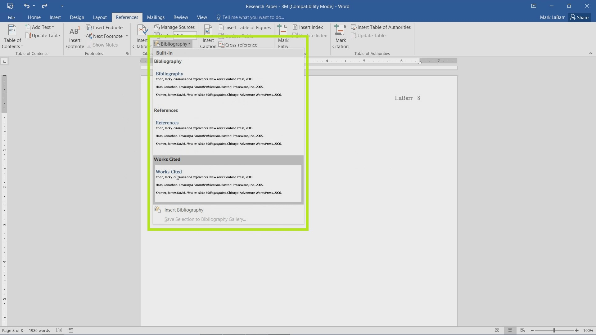 Create a Bibliography in Word 2016