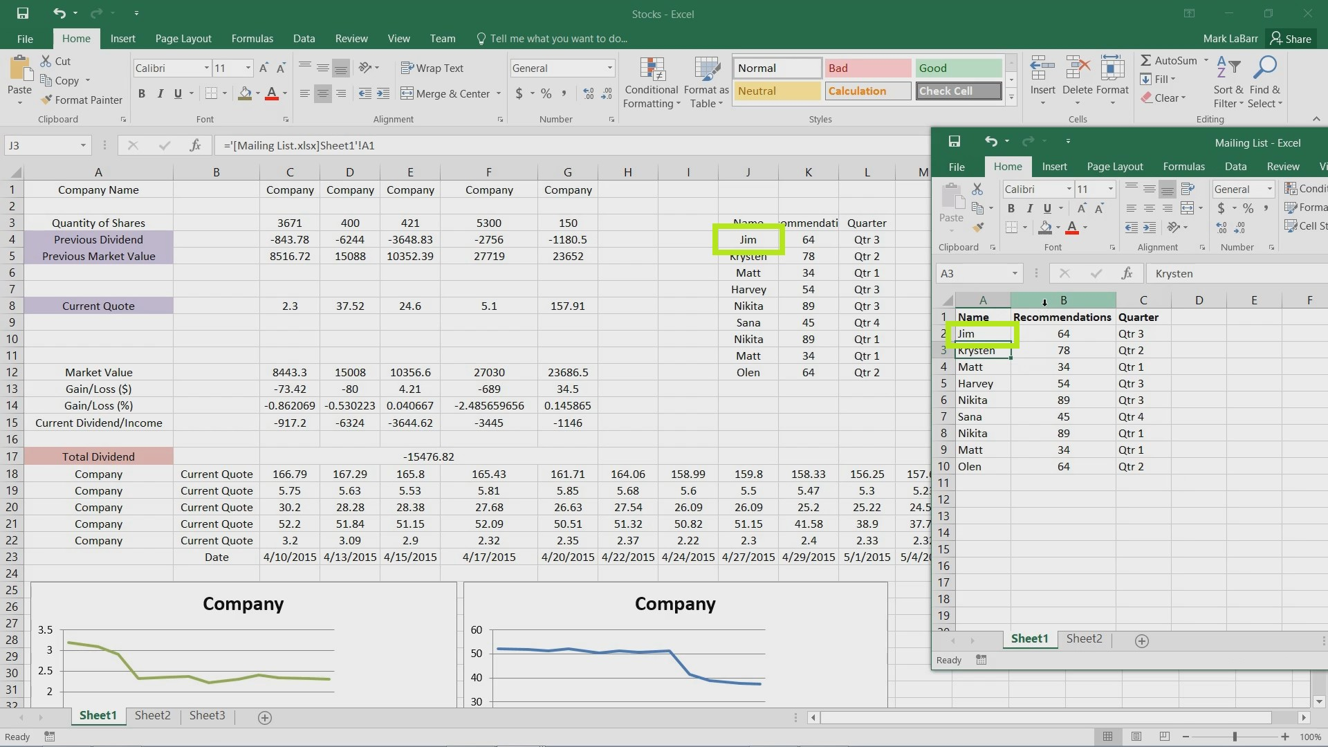 How to Link Information Between Excel 2016 Files