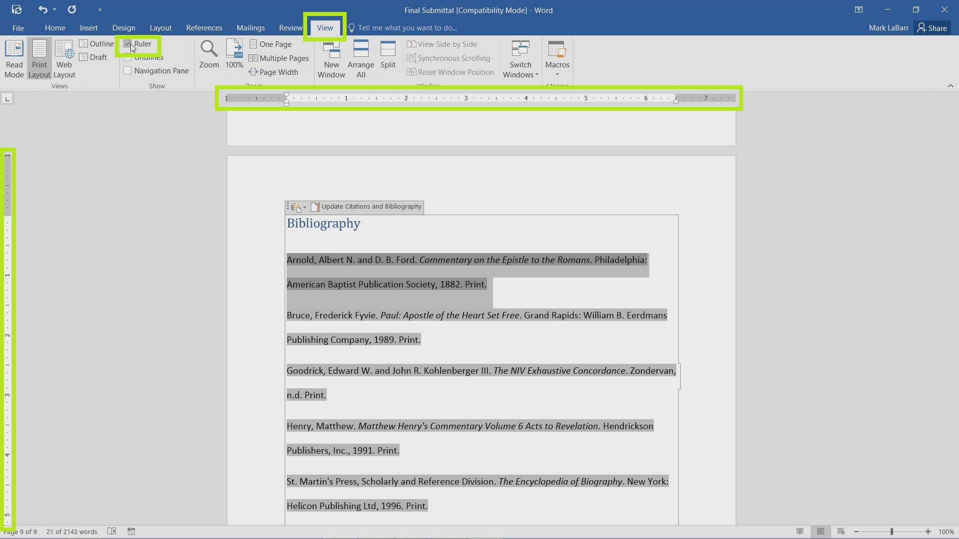 Identify and Use Tabs in Word 2016