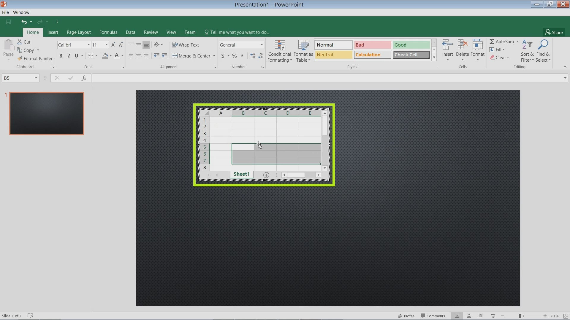 Insert Excel Charts and Spreadsheets in PowerPoint 2016
