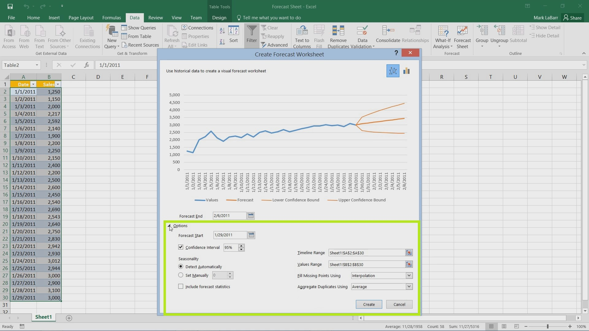 Create Forecast in Excel 2016