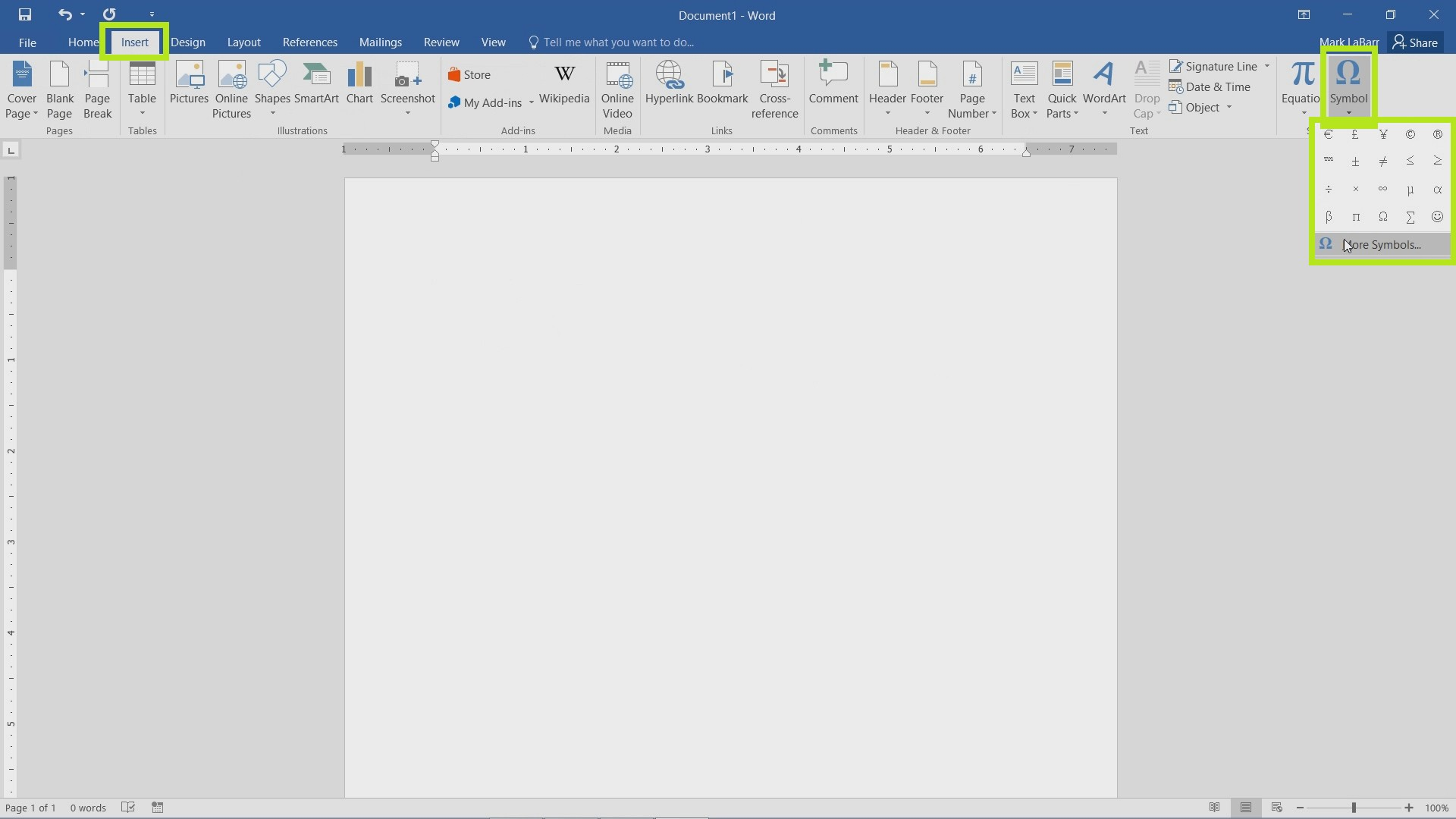 Type and Insert Symbols in Word 2016