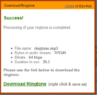Ringtone download window