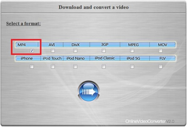select the video format area