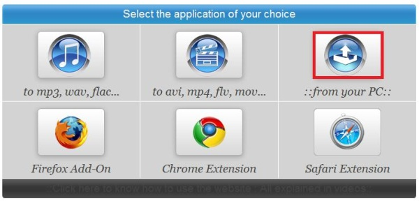 button for upload video from your PC