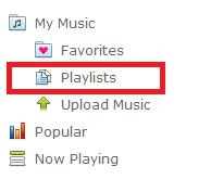 """Playlists"" tab in the main menu"