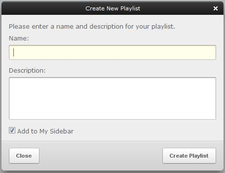 """create new playlist"" window"