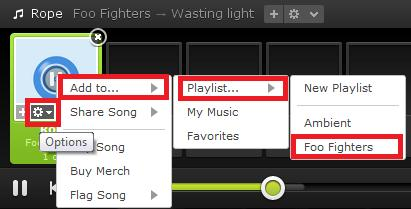 context menu to add songs to playlist