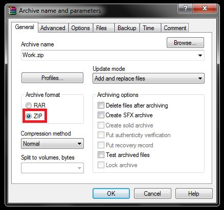 """""""Zip"""" radio button in the """"archive name and parameters"""""""