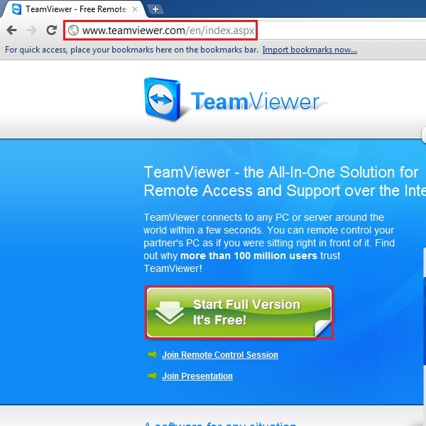Open Team Viewer website