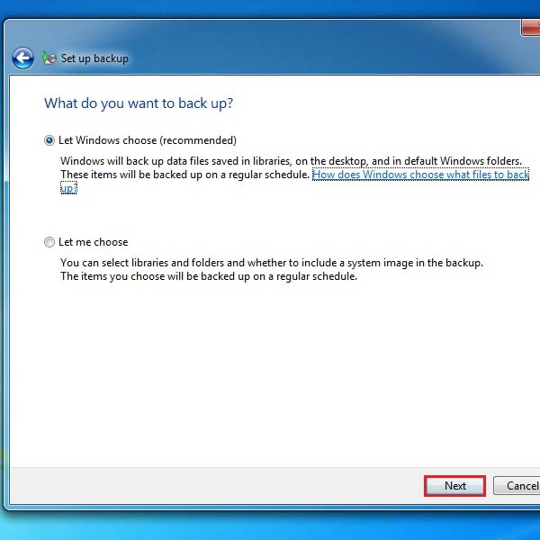 Select the option for backup