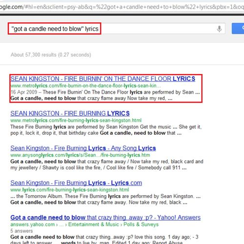 get search results from a particular website