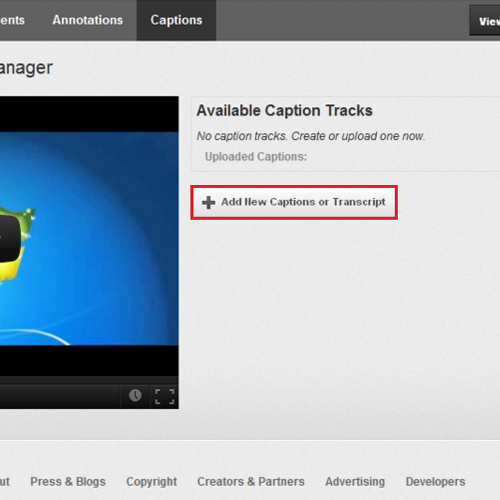 Select the Add new captions or transcripts button