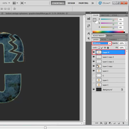 Changing the blend mode of the layer
