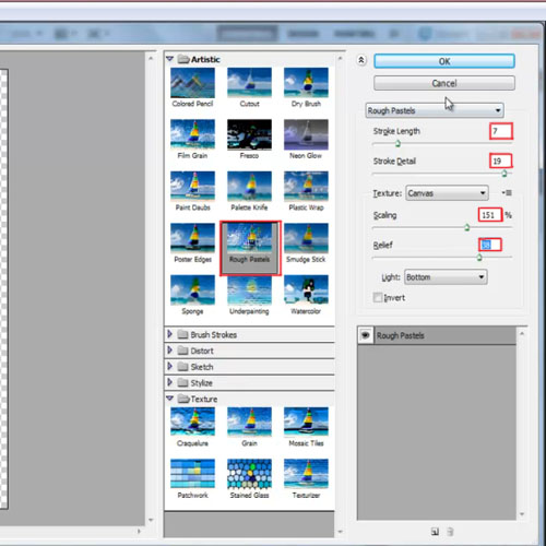 Applying filter to the layer