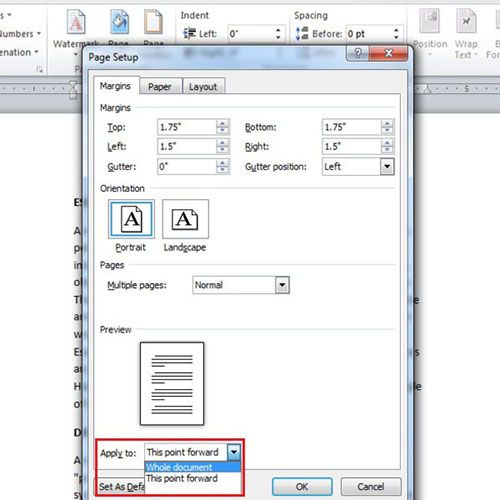 Apply margin settings from specific point or to the whole document