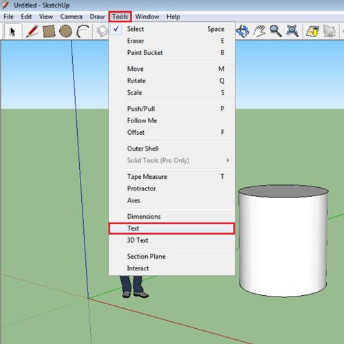 how to add text to sketchup