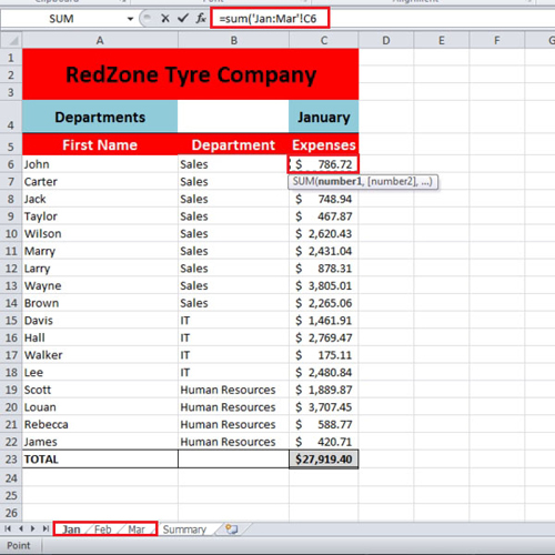 Click on the First expense cell of the first sheet