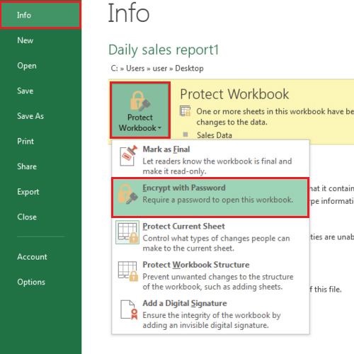 Secure your workbook with a password