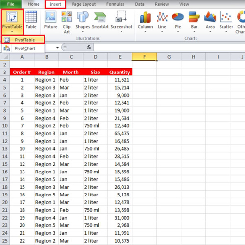 Insert Pivot Table in Excel