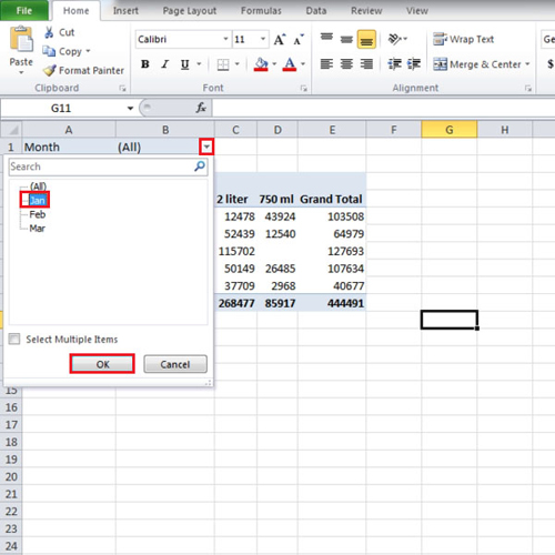 Filtering Pivot Table