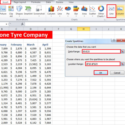 Apply Sparklines in Excel