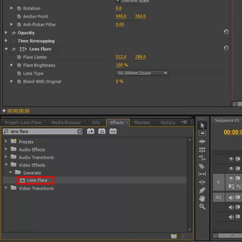 How to use the lens flare effect in Adobe Premiere Pro CS6