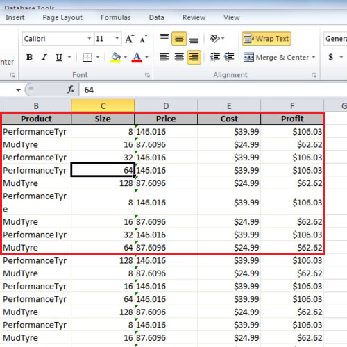 Data in excel