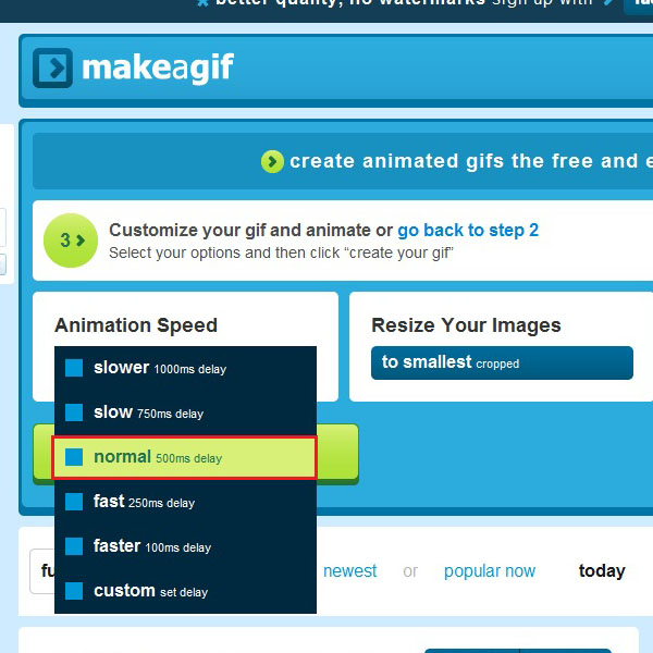 Choose the speed for animation