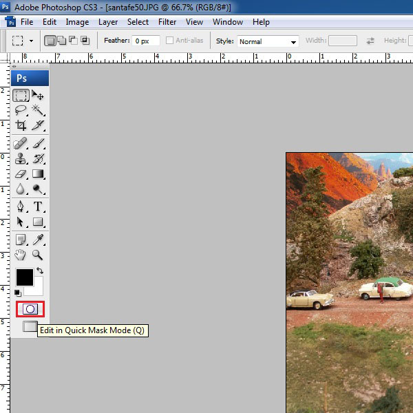 Load an image in Photoshop