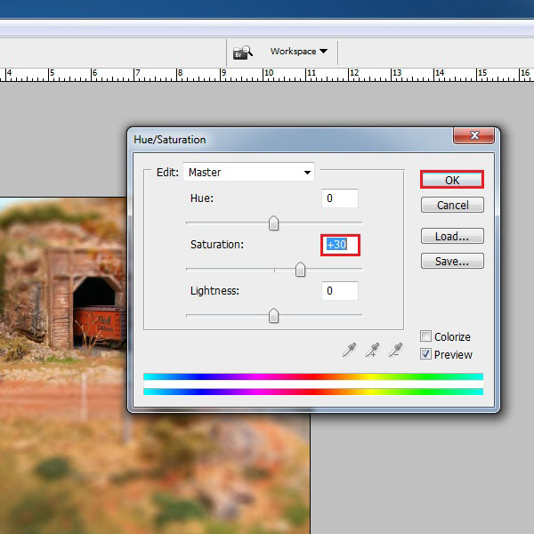 Choose the settings for Saturation