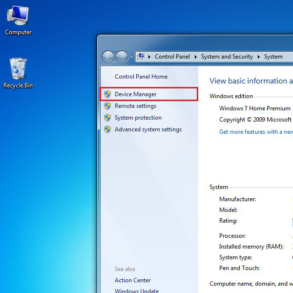 Open the Device manager page