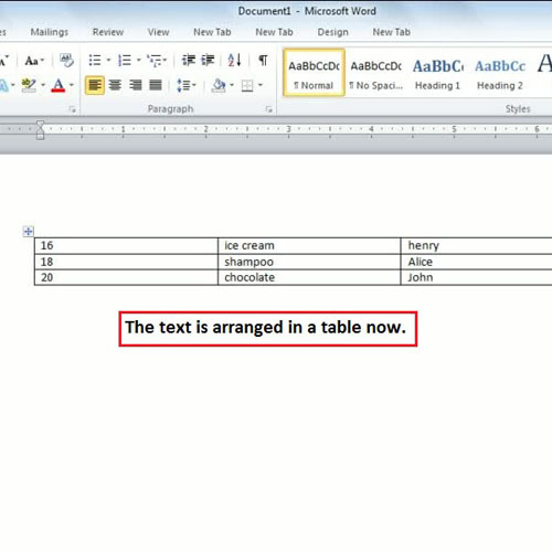 text is arranged in a table