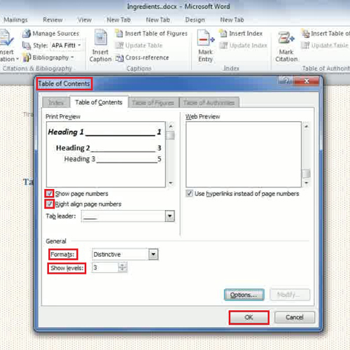 Set formatting style for table of contents